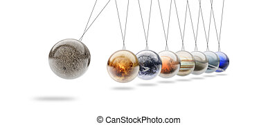 newton cradle made with solar system planets