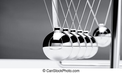 Newton cradle loop able animation. 3d rendering fullhd animation