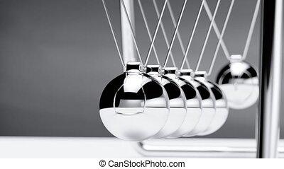 Newton cradle loop able animation. 3d rendering fullhd...