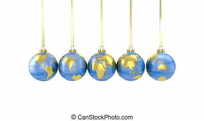 Newton cradle made of globe shaped Christmas baubles with clipping path
