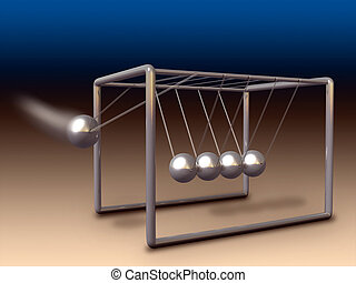 Newton cradle - Newton\'s cradle experiment. Digital...