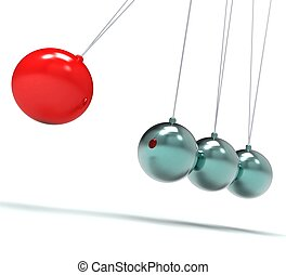 Newton Cradle Showing Energy And Action - Newton Cradle...