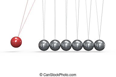 Newton. - Newtons cradle White floor. One red Ball in the ...