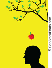 Iconic illustration of an apple falling into someone head
