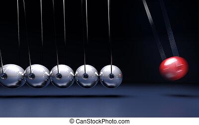 Newtons craddle - 3D rendering of Newton's cradle pendulum