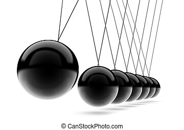 3D render of Newton's cradle on white background.