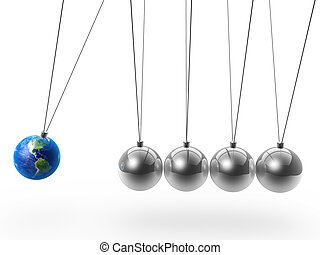 newton's cradle and earth