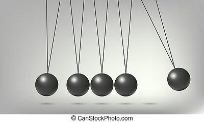 Newton's Cradle Balls, abstract vector art illustration.