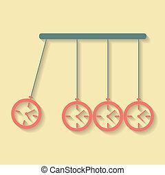 Newton's Cradle concept of procrastination with alarms. flat design modern vector illustration