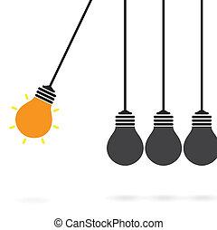 Newton's cradle concept on background, creative light bulb ...