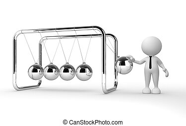 Newton's cradle - 3d people - man, person and Newton's...