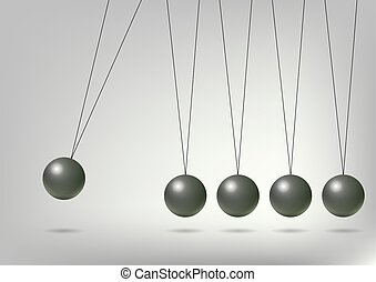 Newton's Cradle, vector art illustration of the concept of...