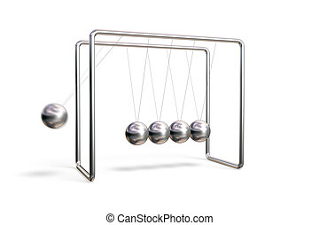 Newton\\\'s cradle in action (motion blur) isolated on a...