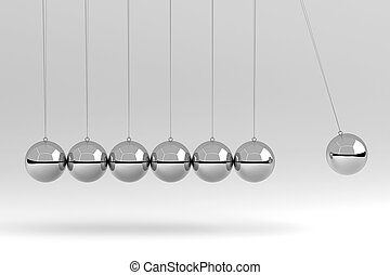 Newton's Cradle Isolated on White, 3D Rendering