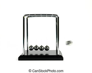 Newtons Cradle - Newtons cradle isolated against a white...