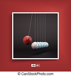 Newtons cradle. Notebook mockup. Cover design template.