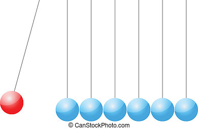 Newtons Cradle On White Background Vector Illustration