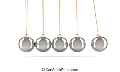 Newton's cradle, pendulum in motion. 3D rendering isolated on white background