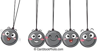 Newtons Cradle Pendulum Mascot Illustration
