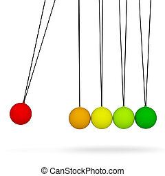 Newton's cradle. Isolated render on white background