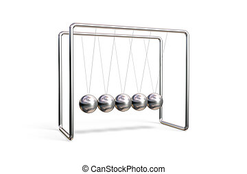 Newton\\\'s cradle isolated on a white background