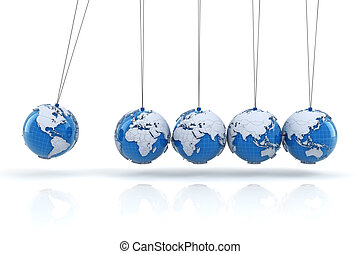 Newton's cradle with globes, 3d render