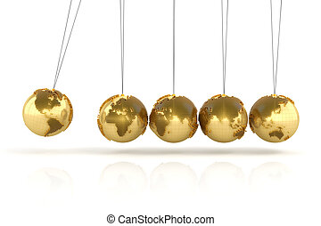 Newton's cradle with golden globes formed by dollar signs