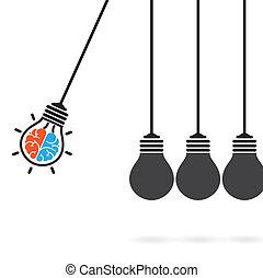 newton's, kinderwiege, begriff, hintergrund, glühlampe, idee, begriff, idee