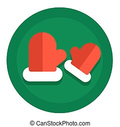 NewYearFlatIcons - Vector Christmas icon flat with mittens...