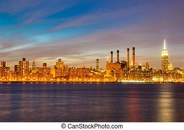 newyork, 도시, 중앙의