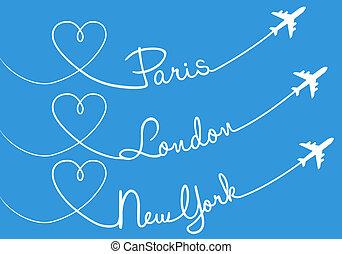newyork, 사랑, 나는 듯이 빠른, 파리, 런던