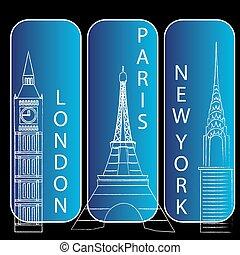 newyork, 파리, 런던