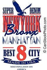 newyork, cartel, diseño gráfico, vector