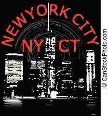 newyork, ciudad, diseño gráfico, tee