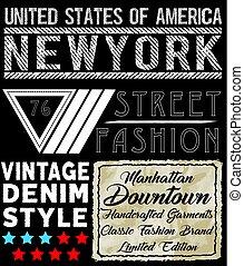 newyork, t, diseño, camisa, tipografía