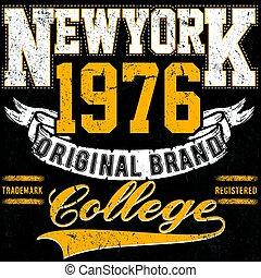 newyork, typographie, vendange, collège, marque, logo, impression, pour, t-shirt., retro, typon, vecteur, illustration