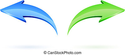 Next and Back Vector Arrows over white