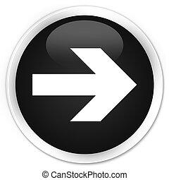 Next arrow icon black glossy round button
