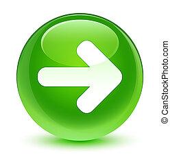 Next arrow icon glassy green round button