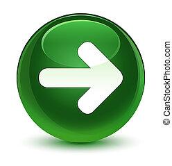 Next arrow icon glassy soft green round button