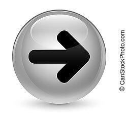 Next arrow icon glassy white round button