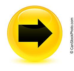 Next arrow icon glassy yellow round button