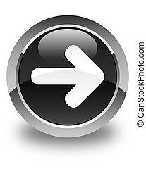 Next arrow icon glossy black round button