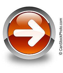 Next arrow icon glossy brown round button