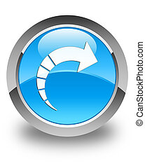 Next arrow icon glossy cyan blue round button