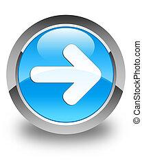 Next arrow icon glossy cyan blue round button