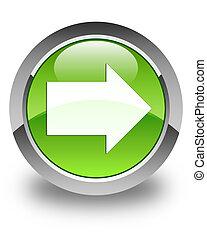 Next arrow icon glossy green round button