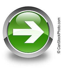 Next arrow icon glossy soft green round button