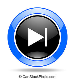 next blue and black web glossy round icon