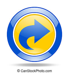 next blue and yellow web glossy round icon